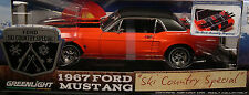 ASPEN RED 1967 FORD MUSTANG COUPE GREENLIGHT 1:18 SCALE DIECAST METAL CAR