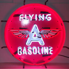 Real Neon sign Flying A Tydol Gasoline pump Garage wall lamp globe light Glass