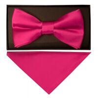 Handmade Plain Cerise Pink Mens Bow Tie and Pocket Square Set Dickie Bow Set