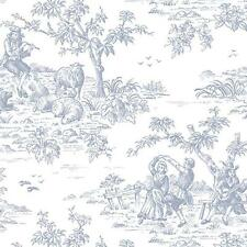 Norwall Small Blue Garden Toile on Soft White Wallpaper Fl26184