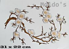 Delicate White Cherry Blossom Iron On Patch Badge Cloth Woven Patches Badges 407