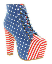 Womens Jeffrey Campbell Lita Platform Usa Flag Boots - UK Size 4 *Ex Display