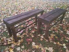Pareja de BANCOS de madera maciza tableados. Tintados color nogal Largo 90 cms.