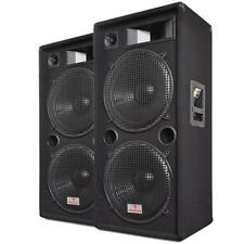 """PAIR 15"""" DUAL BASS DJ PA 3 WAY DISCO SPEAKERS 2 x 1500W *FREE P&P SPECIAL OFFER"""
