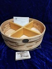 "LARGE 12"" PETERBORO WICKER LAZY SUSAN BASKET W/ REMOVABLE DIVIDERS"