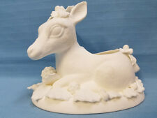 Christmas Holiday Reindeer Deer Ready to Paint Plaster Figurine Vase White 5""
