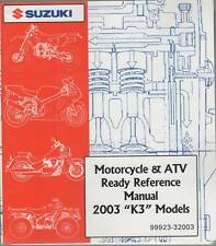 2003 Suzuki Motorcycle & Atv Ready Reference K3 Manual