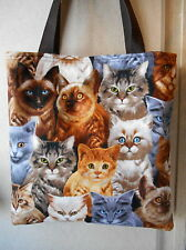 Cat Cats Tote Bag Tabby Siamese Kitty Kitten Fun Lunch or Book Bg Handmade Purse