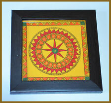 Eco Friendly Set of Two Hand Painted Square Wood Coaster Holder from India