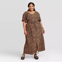 WOMEN'S PLUS SIZE PRINTED FLUTTER ELBOW SLEEVE MAXI DRESS- AVA&VIV BROWN 1X-NEW