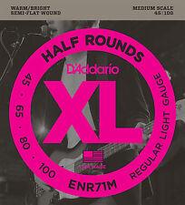 D'Addario ENR71M Half Round Bass Guitar Strings, Regular Light, 45-100, Medium S