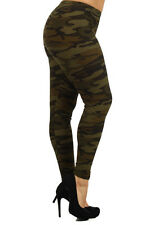 Womens Green Camouflage Leggings One Size Fit XL,1X,2X Or (14,16,18)