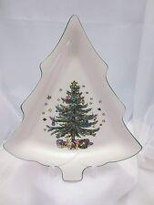 """SET 2  NIKKO HAPPY HOLIDAYS LARGE TREE SHAPED DISH 11 5/8""""  TRAY CHRISTMAS  NWOT"""