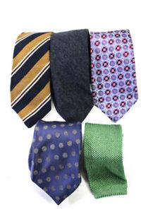 Isaia Napoli Neiman Marcus Mens Floral Striped Polka Dot Neckties Lot 5
