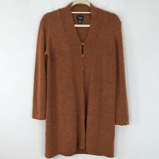 EILEEN FISHER Large Wool Blend Tunic Button Open Front Cardigan Sweater Petite L