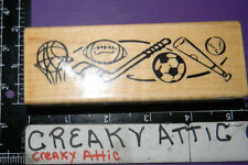 SPRORTS BORDER HOCKEY BASKETBALL FOOTBALL RUBBER STAMP STAMPENDOUS Y023