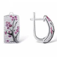925 Silver Red Ruby Flower Plum Blossom Stud Ear Hoop Earrings Women Jewelry