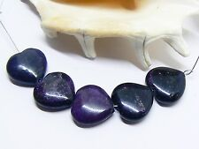 5 RARE 100% NATURAL UNTREATED AFRICAN PURPLE SUGILITE HEART BEADS 15mm 59cts