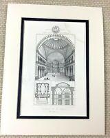 1860 Antique Engraving Print The Hagia Sophia Interior Istanbul Constantinople