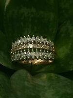 Pave 1,27 Cts Marquise Runde Cut Diamanten Jahrestag Ring In 585 Solide 14K Gold