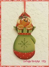 HP gingerbread,  winter ,mittens, wooden christmas  ornament,  handpainted