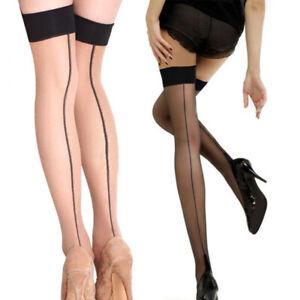 Sexy Women Back-Seam Line Sheer Stockings Cuban High Heel Tights Pantyhose Socks