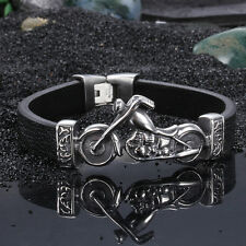 Skull Biker Stainless Steel Bracelet Punk rock Genuine Leather Wristband Cool