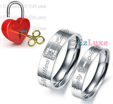 PERSONALIZED ENGRAVED Lock & Key Couple Rings Set Korea Forever Love Heart NAME