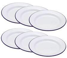 6 x Falcon Enamel Dinner Flat Plate - Traditional White 20cm