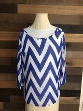 Francesca's Blue And White Women's Blouse Moonlight Size Small
