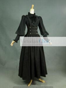 Black Victorian Gothic Steampunk 2PC Blouse Skirt Dress Comic Con Costume D187