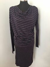 VIVIENNE WESTWOOD ANGLOMANIA Dress L Navy Purple Wool Blend Knit Ruched Cowl
