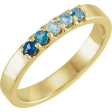 14K Yellow Gold Blue Multi Gemstone Midi Knuckle Ring
