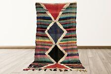 Vintage Morocccan 4x8 berber area rug, tribal Handmade woven boho azilal rug