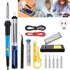 Soldering Iron Kit Electronics, 60W Adjustable Temperature Welding Tool US Stock