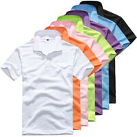 JT_ Stylish Men's Summer Short Sleeve Solid Polo Shirts T-shirt Slim Fit Tops