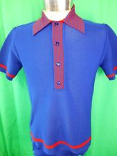 Vintage 60s 70s Blue & Red Nylon Poly Julian Haye Mod Style Polo Shirt 14 90cm S