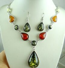 Precious Modernist COGNAC YELLOW GREEN PRESSED AMBER earrings NECKLACE set P44