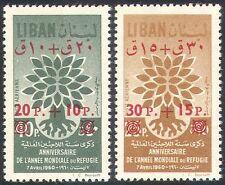 Lebanon 1960 WRY/Refugees/Uprooted Tree/Health/Welfare/Surcharge 2v set (n27333)