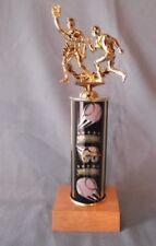 male action Baseball trophy theme column natural finish wood base