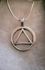Alcohólicos Anónimos símbolo sobriedad Collar de plata esterlina AA Na Ga Caja