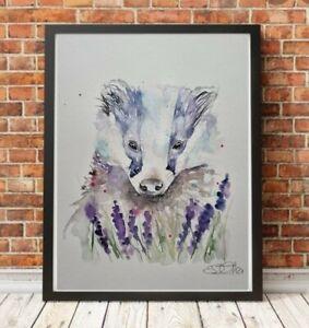 Large new Elle Smith original signed watercolour art painting Badger & lavender