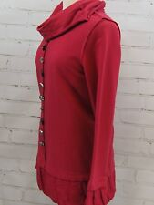 Neon Buddha Pullover Cowl Tunic Top French Terry Cotton Rhinestone Buttons Sz S