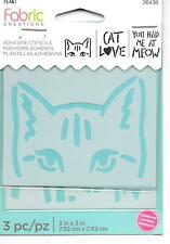 PLAID Fabric Creations Adhesive Stencils Decorative Tole Painting Kitty Cat Meow