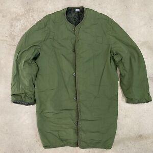 VINTAGE 60s Vietnam Era Insulated Military Jacket Liner OG Olive Green Grunge 52