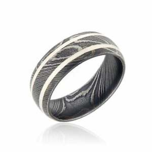 New 8mm Wide Damascus Steel Ring with Double Solid Silver Inlay