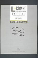 Luxman d-007 Original Lecteur CD Manuel d'Utilisation/Owner's manual