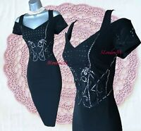 New 10 UK KAREN MILLEN Black Beaded Bardot Cold Shoulder Cocktail Party Dress 38