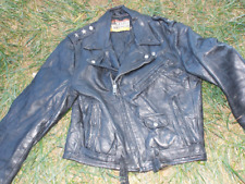 Vintage 1970's Montgomery Ward Leather Motorcycle Jacket Size 40 Made In Usa