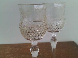 Vintage Bohemian Hand Cut 24% Lead Crystal Wine Glasses x 2 # 4.